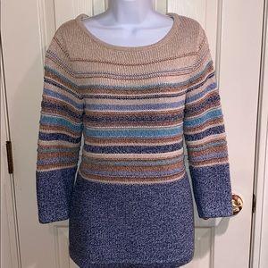 L.L.Bean beige & blue cold weather sweater Medium